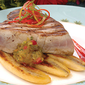 Grilled Yellowfin Tuna with Mango-Banana Chutney